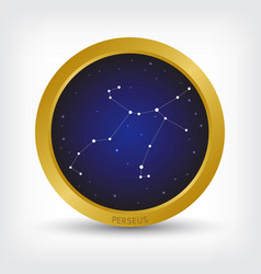 Perseus constellation in golden circle vector