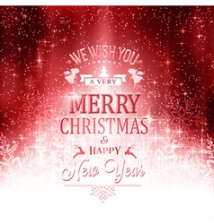Red white Merry Christmas typography vector image vector image