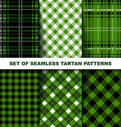 Set of seamless tartan patterns Green version vector image