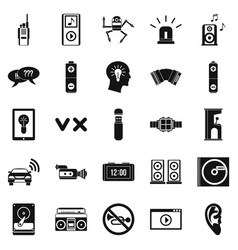 Sound icons set simple style vector