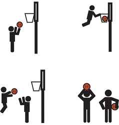 Stick man basketball vector image vector image