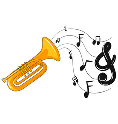 trumpet with music notes in background vector image vector image