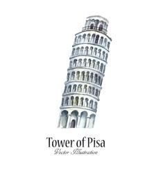 Watercolor tower of pisa vector
