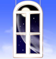 window in the night vector image