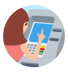 Woman using ATM machine round vector image vector image