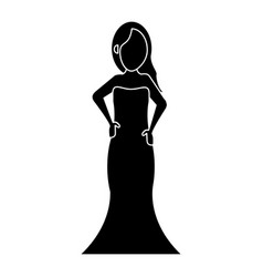 Women day girl model fashion dress pictogram vector