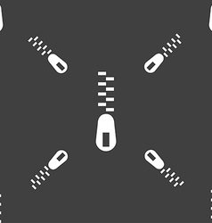 Zipper Icon sign Seamless pattern on a gray vector image