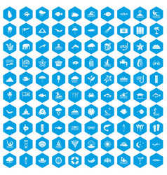 100 diving icons set blue vector