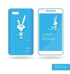 Cover mobile smartphone dancing rabbit skeleton vector image