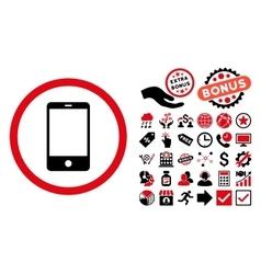 Smartphone Flat Icon with Bonus vector image