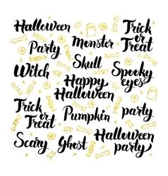 Halloween party lettering design set vector