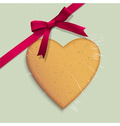 Gift box with cookie of heart shaped vector image