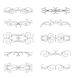 Set of various curl black elements vector