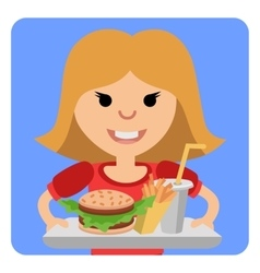 Little girl with a tray of fast food in his hands vector image