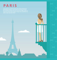 Woman stands on balcony in paris vector