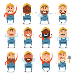 Set of builder flat cions vector