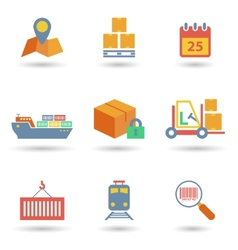 Logistic icons flat vector