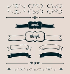 Ribbons frames and design elements vector