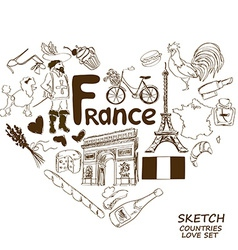 French symbols in heart shape concept vector