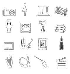 16 outline art icons set eps10 vector
