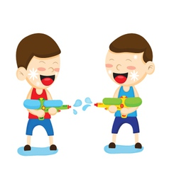 Two boys are playing with a water gun vector