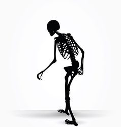 Skeleton silhouette in old walk pose vector