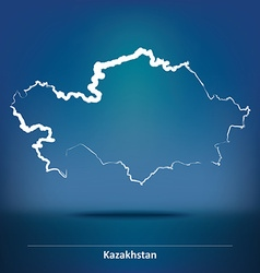 Doodle map of kazakhstan vector