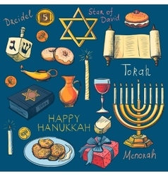 Hanukkah traditional jewish holiday symbols set vector