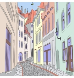 Old street in tallinn vector