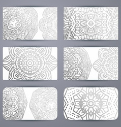 Mandala business card with ornament handmade in vector
