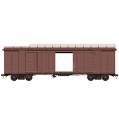 Brown freight-car with open door vector