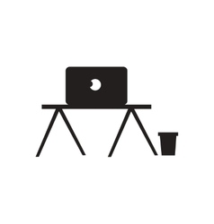 Flat icon in black and white laptop table vector