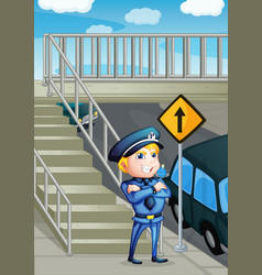 A traffic enforcer standing beside an outpost vector image vector image