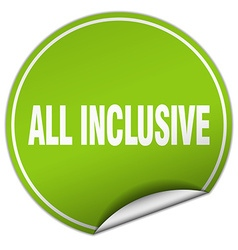 All inclusive round green sticker isolated on vector