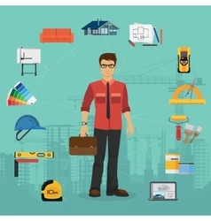 Architecture and construction flat concept with vector