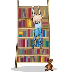 Baby boy climbing on bookcase vector