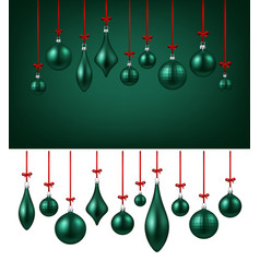 background with green christmas balls vector image vector image
