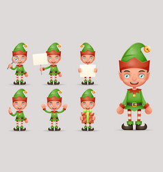 Boy cute elf christmas santa claus helper teen new vector