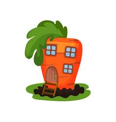 Cartoon of fantasy carrot house with vector