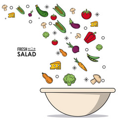 Colorful poster of fresh salad with vegetables and vector