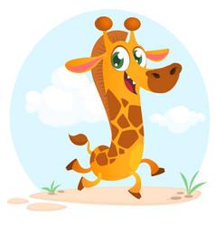 cool cartoon giraffe vector image vector image