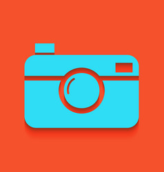 Digital photo camera sign whitish icon on vector