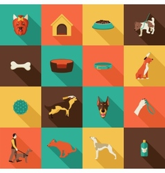 Dog icons flat vector image