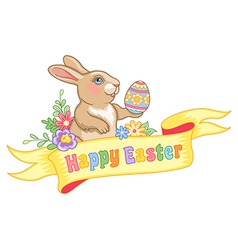 Easter rabbit ribbon vector image vector image