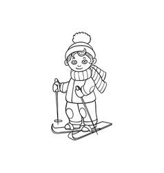 flat cartoon boy skiing isolated vector image vector image