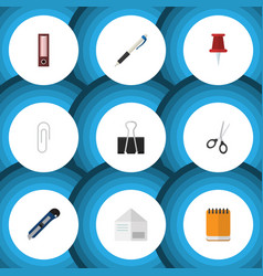 flat icon tool set of pencil knife fastener page vector image