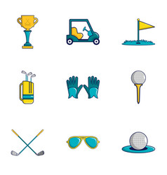 Golf icons set cartoon style vector