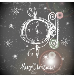 Hand-drawn vintage greeting card with clock vector