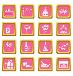 Happy birthday icons pink vector