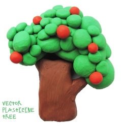 Icon of plasticine tree vector image vector image